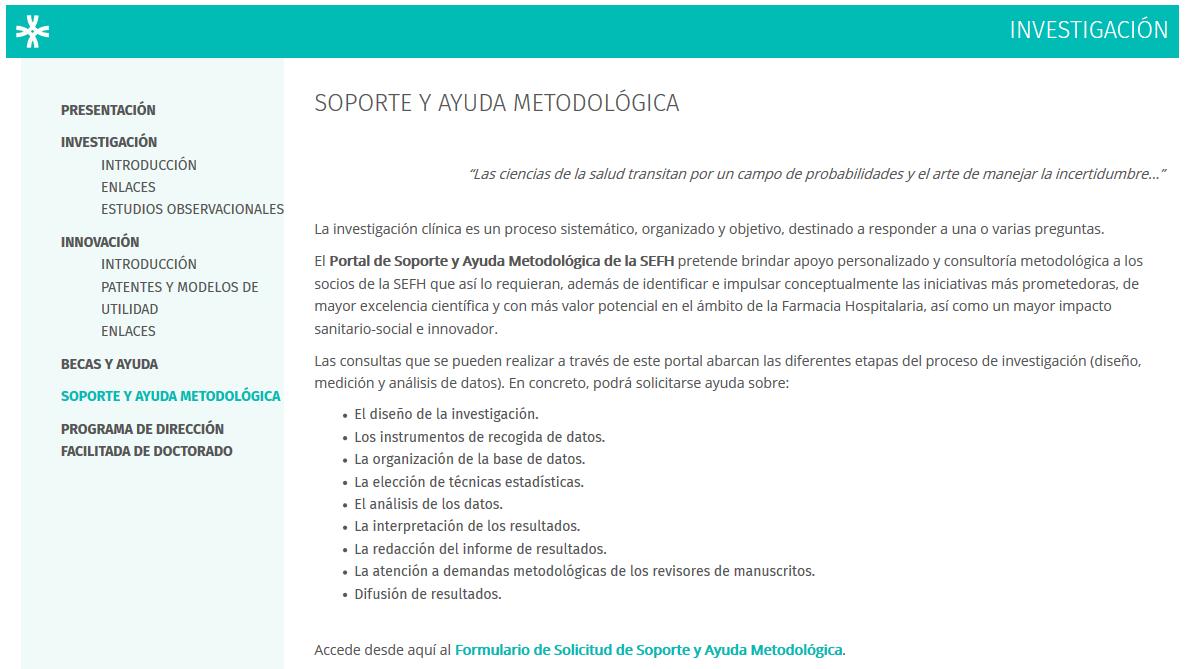 portal de soporte y ayuda metodológica a la investigación SEFH