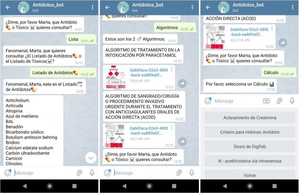 7161a5af8a Otras funcionalidades del chatbot  Antidotos bot  listados de antídotos y  tóxicos